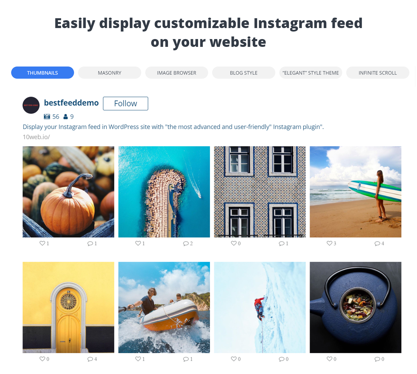 10Web Instagram Feed – Instagram Gallery Download Free Wordpress Plugin 5
