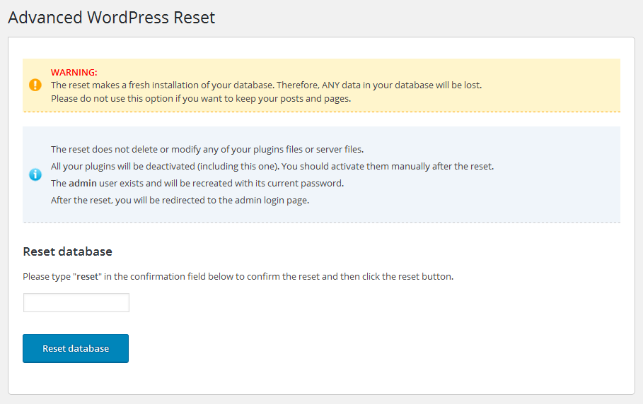 Advanced WordPress Reset Download Free Wordpress Plugin 3