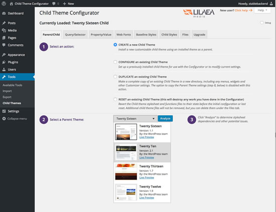 Child Theme Configurator Download Free Wordpress Plugin 3