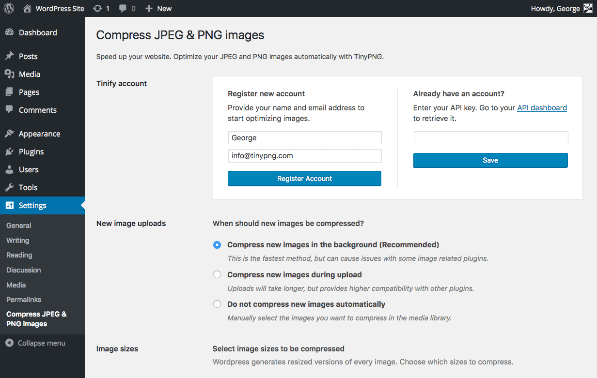Compress JPEG & PNG images Download Free Wordpress Plugin 3
