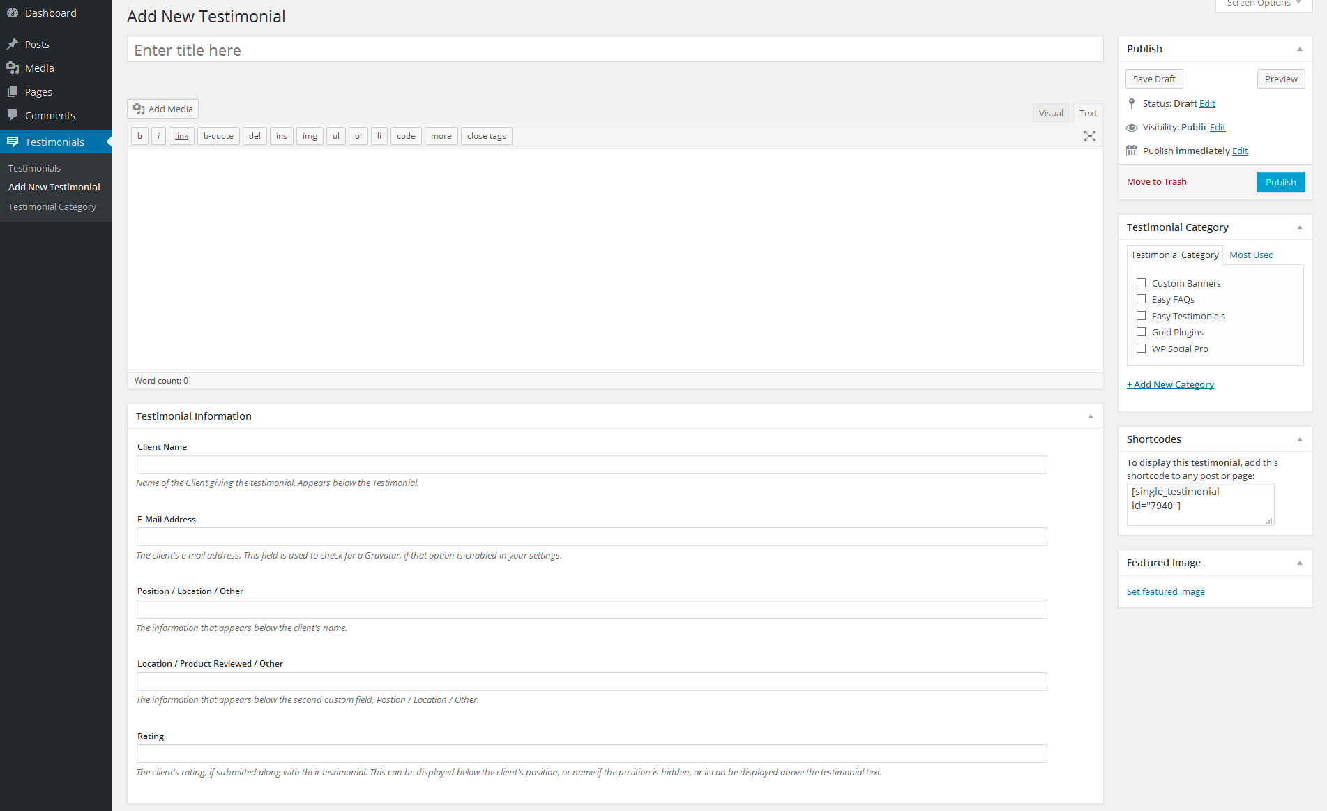 Easy Testimonials Download Free Wordpress Plugin 5