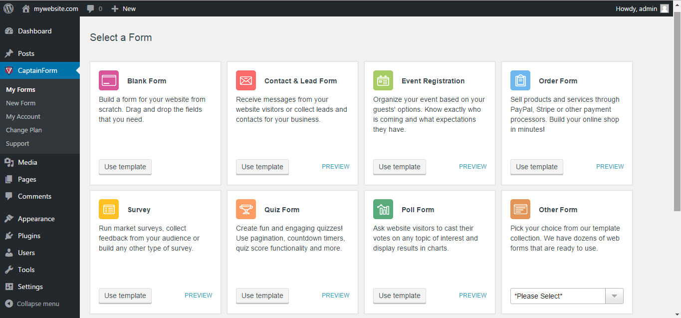Forms by CaptainForm – Form Builder for WordPress Download Free WordPress Plugin