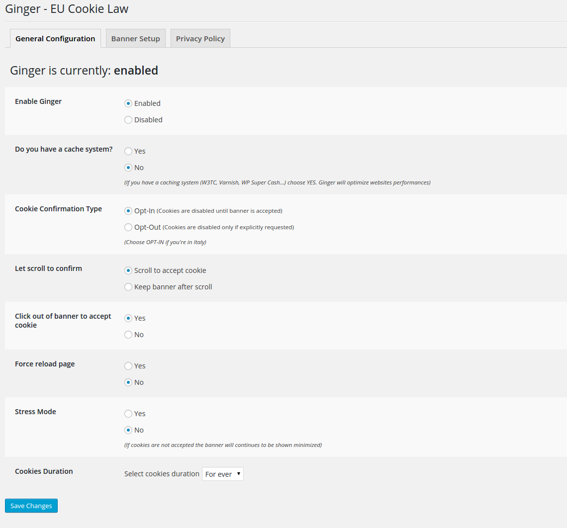 Ginger – EU Cookie Law Download Free WordPress Plugin