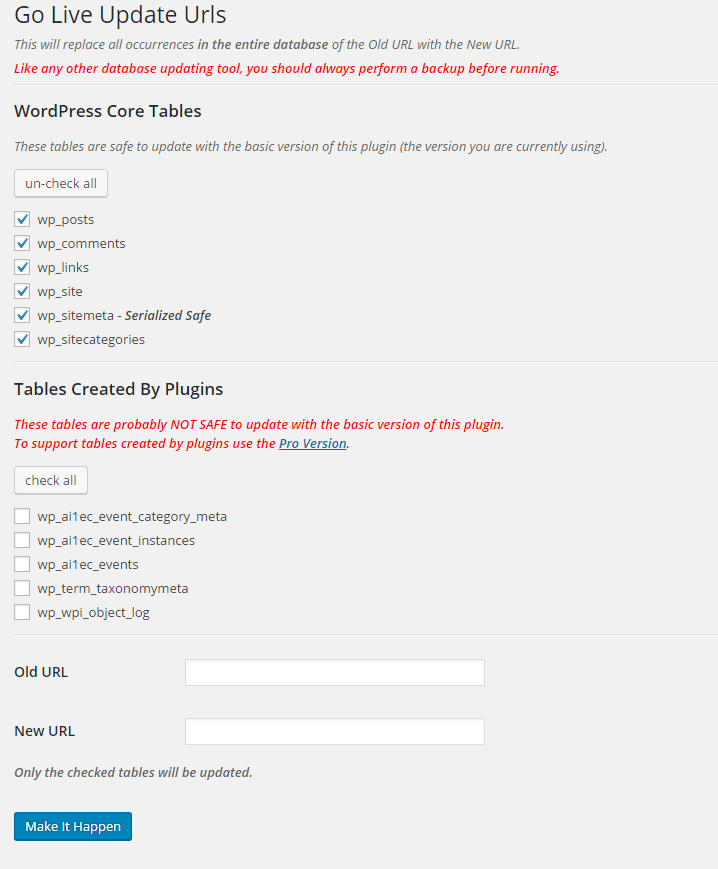 Go Live Update URLS Download Free Wordpress Plugin 3