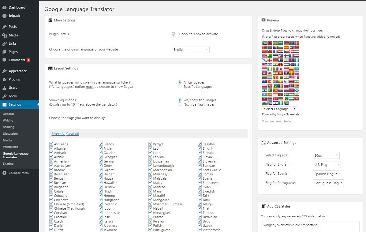 Google Language Translator Download Free Wordpress Plugin 2