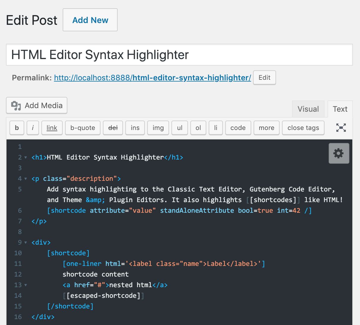 HTML Editor Syntax Highlighter Download Free Wordpress Plugin 2