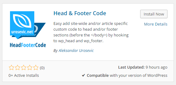 Head & Footer Code Download Free WordPress Plugin