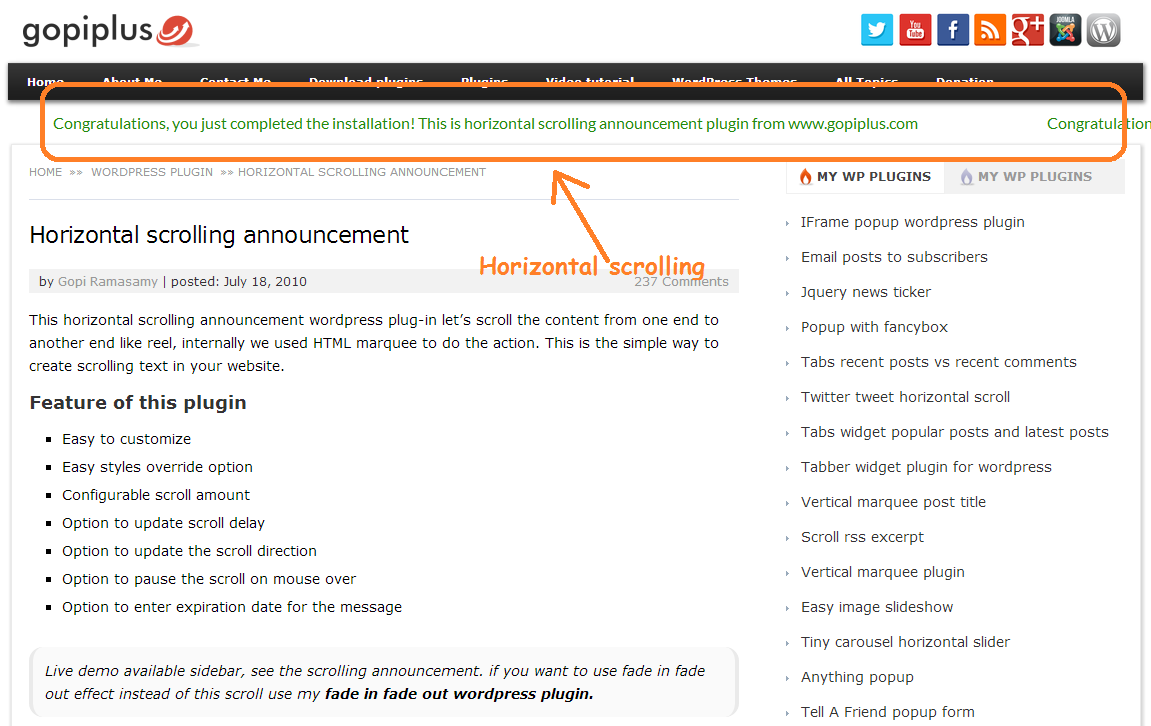 Horizontal scrolling announcement Download Free Wordpress Plugin 4