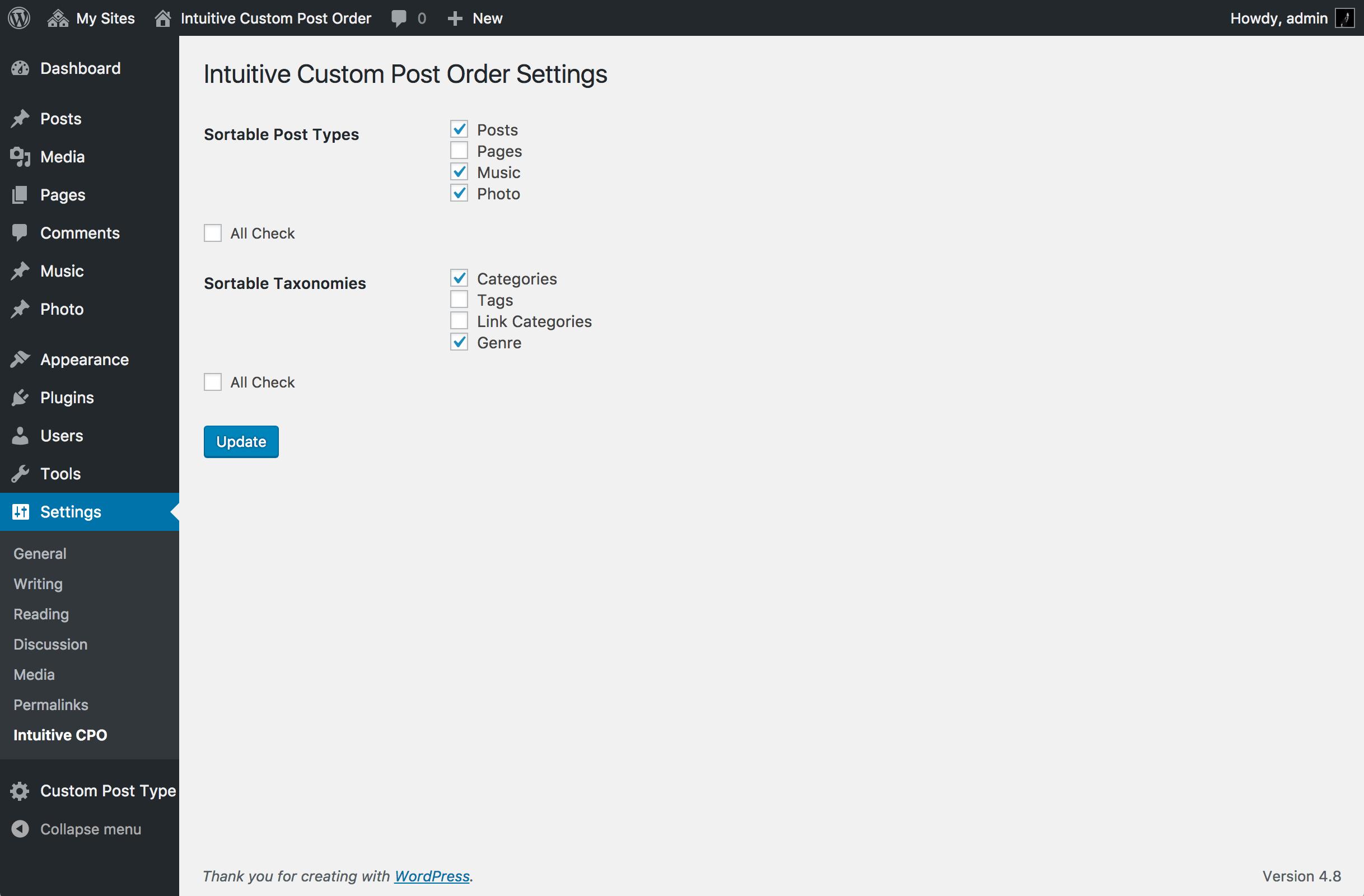 Intuitive Custom Post Order Download Free Wordpress Plugin 1