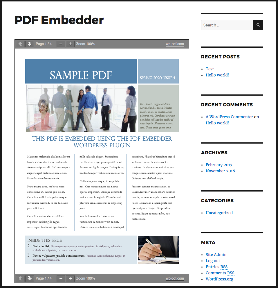 PDF Embedder Download Free Wordpress Plugin 1