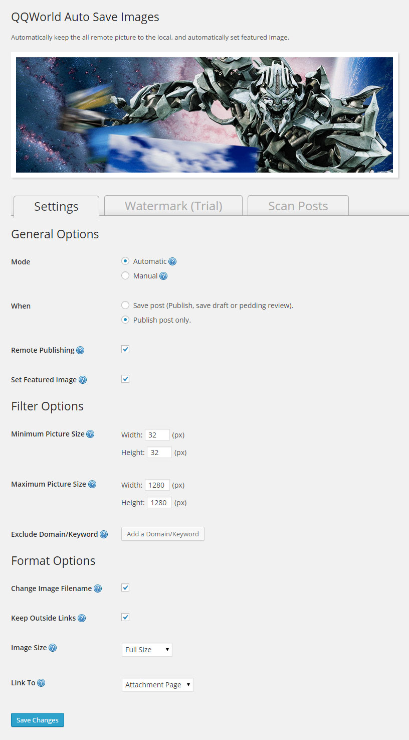 QQWorld Auto Save Images Download Free WordPress Plugin