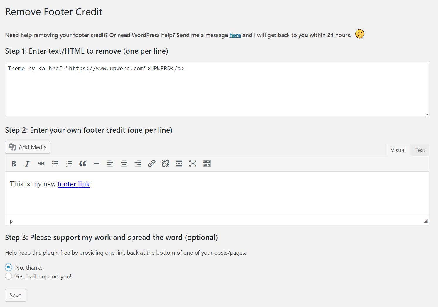 Remove Footer Credit Download Free Wordpress Plugin 4