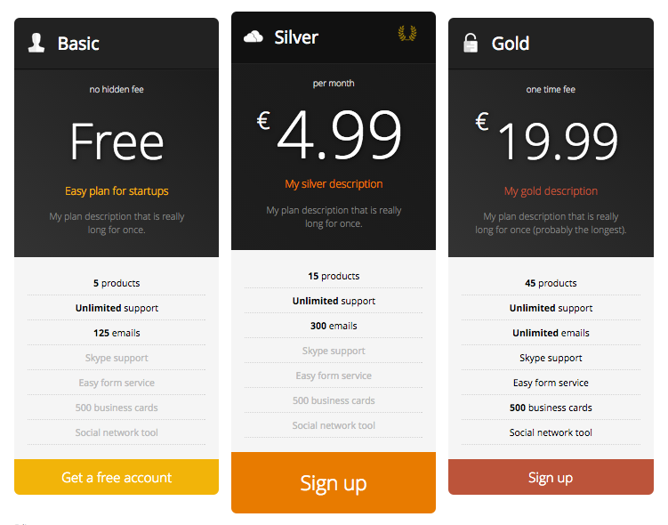 Responsive Pricing Table Download Free Wordpress Plugin 1