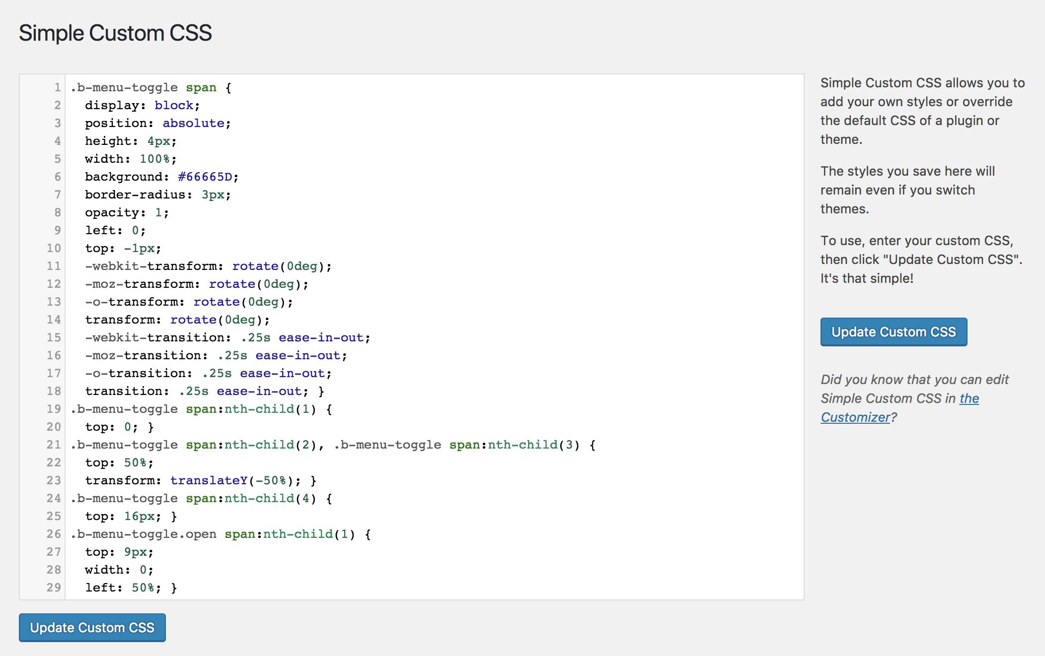 Simple Custom CSS Download Free Wordpress Plugin 1