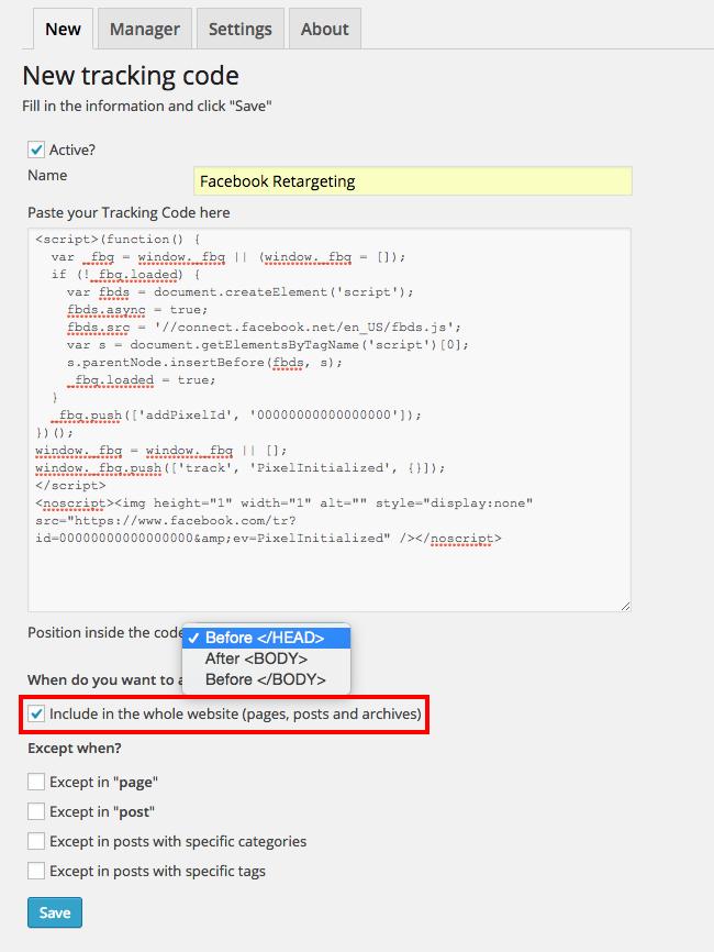 Tracking Code Manager Download Free Wordpress Plugin 3