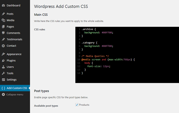 WP Add Custom CSS Download Free Wordpress Plugin 5