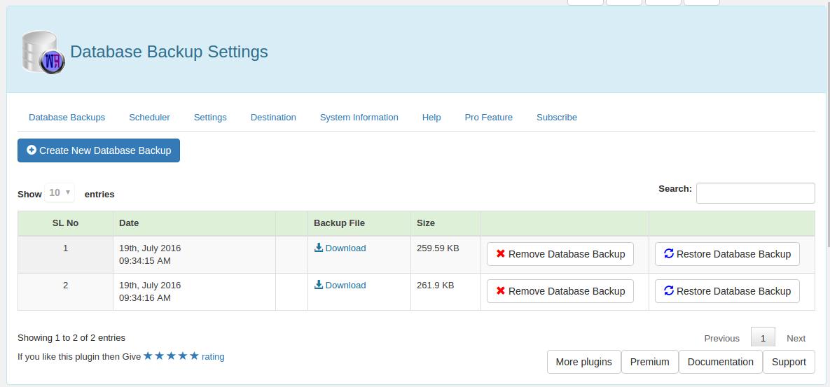 WP Database Backup Download Free Wordpress Plugin 1