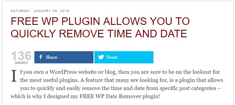WP Date Remover Download Free Wordpress Plugin 3