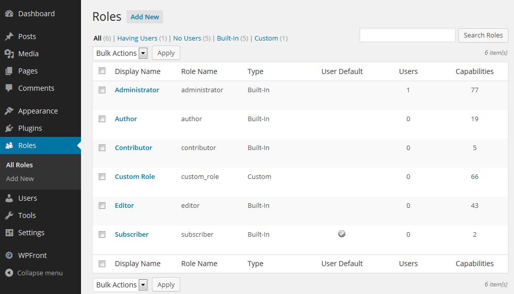 WPFront User Role Editor Download Free Wordpress Plugin 5