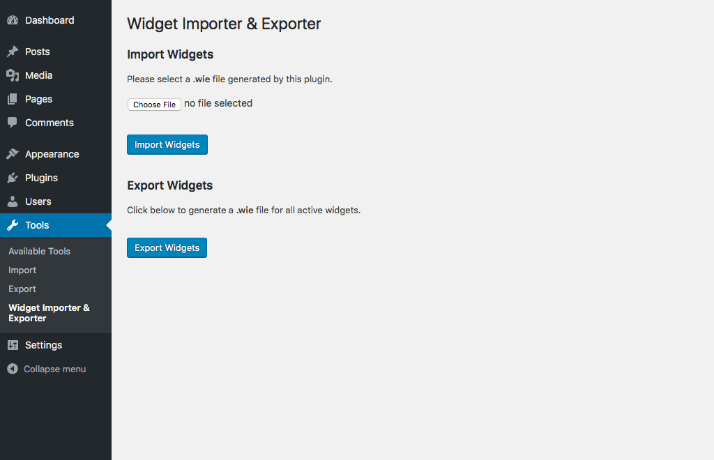 Widget Importer & Exporter Download Free Wordpress Plugin 1