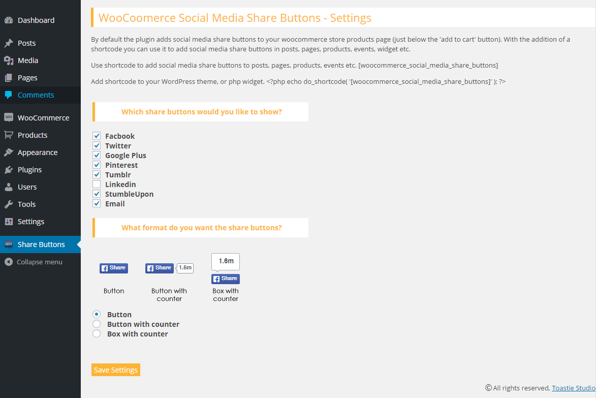 Woocommerce Social Media Share Buttons Download Free Wordpress Plugin 3