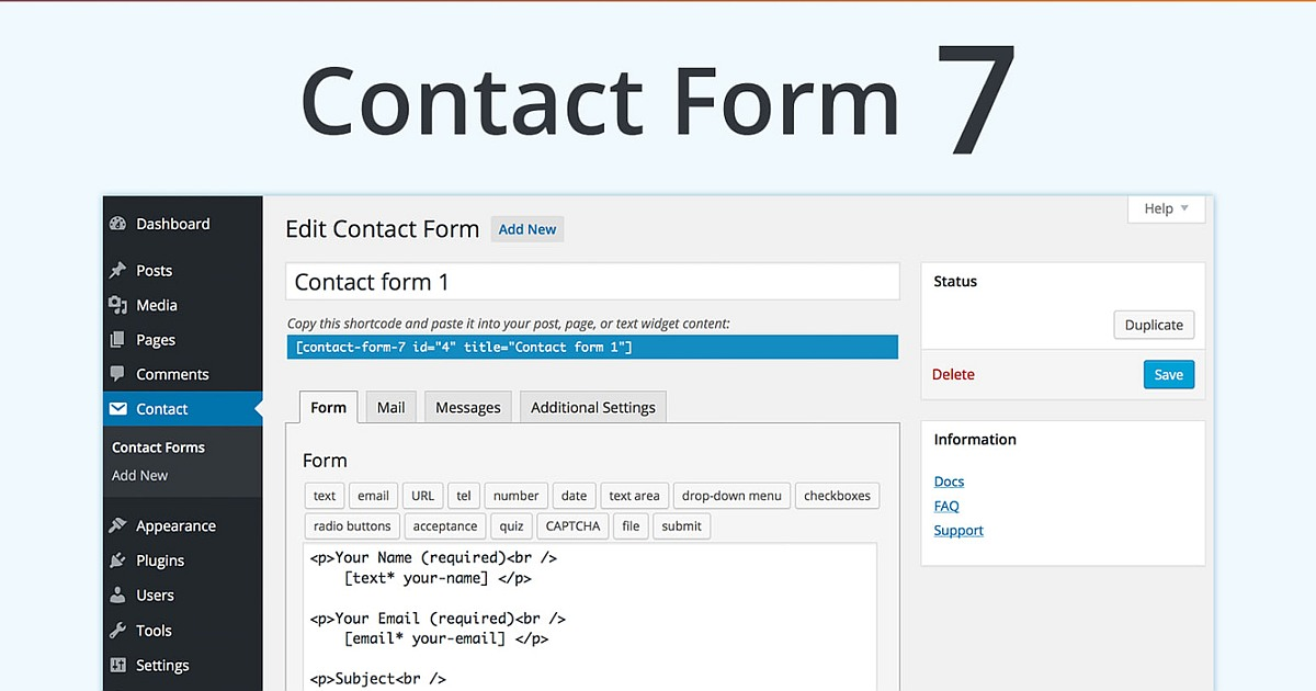 Contact Form 7 Download Free WordPress Plugin