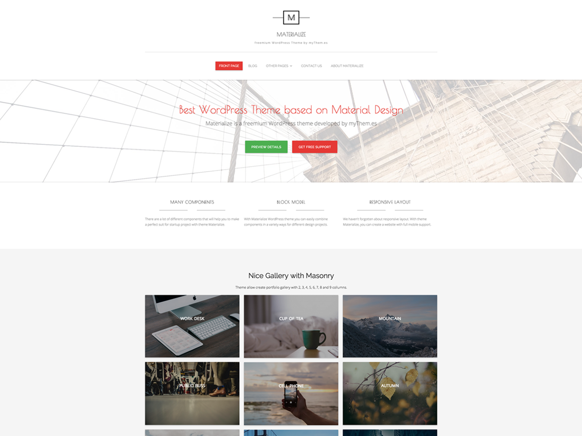Materialize Download Free Wordpress Theme 2