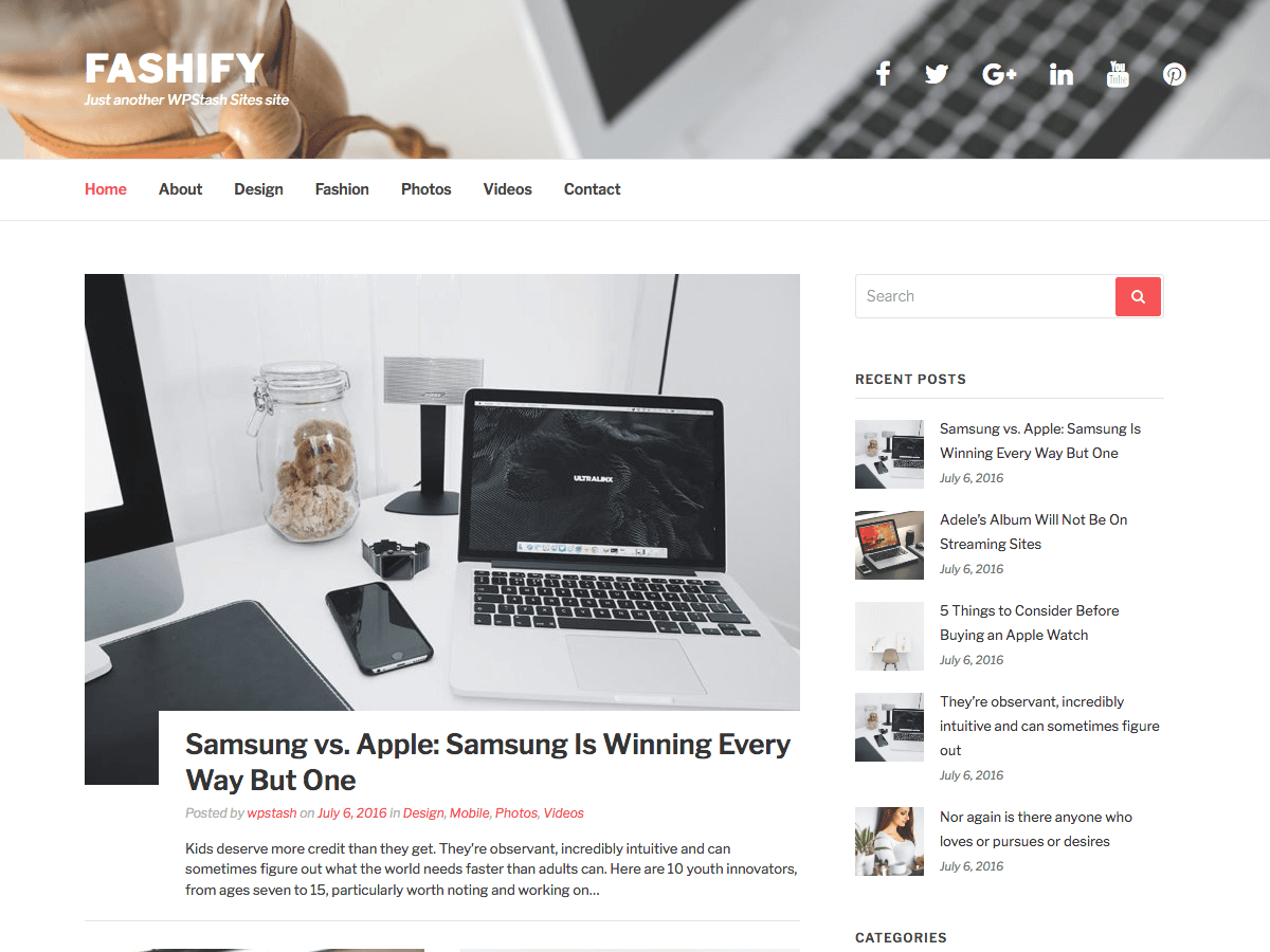 Fashify Download Free Wordpress Theme 2