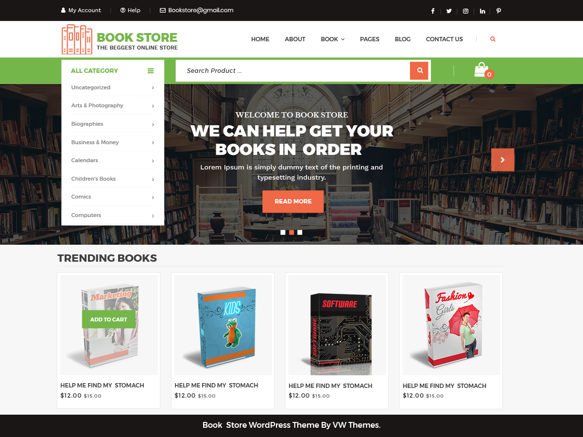 VW Book Store Download Free Wordpress Theme 2