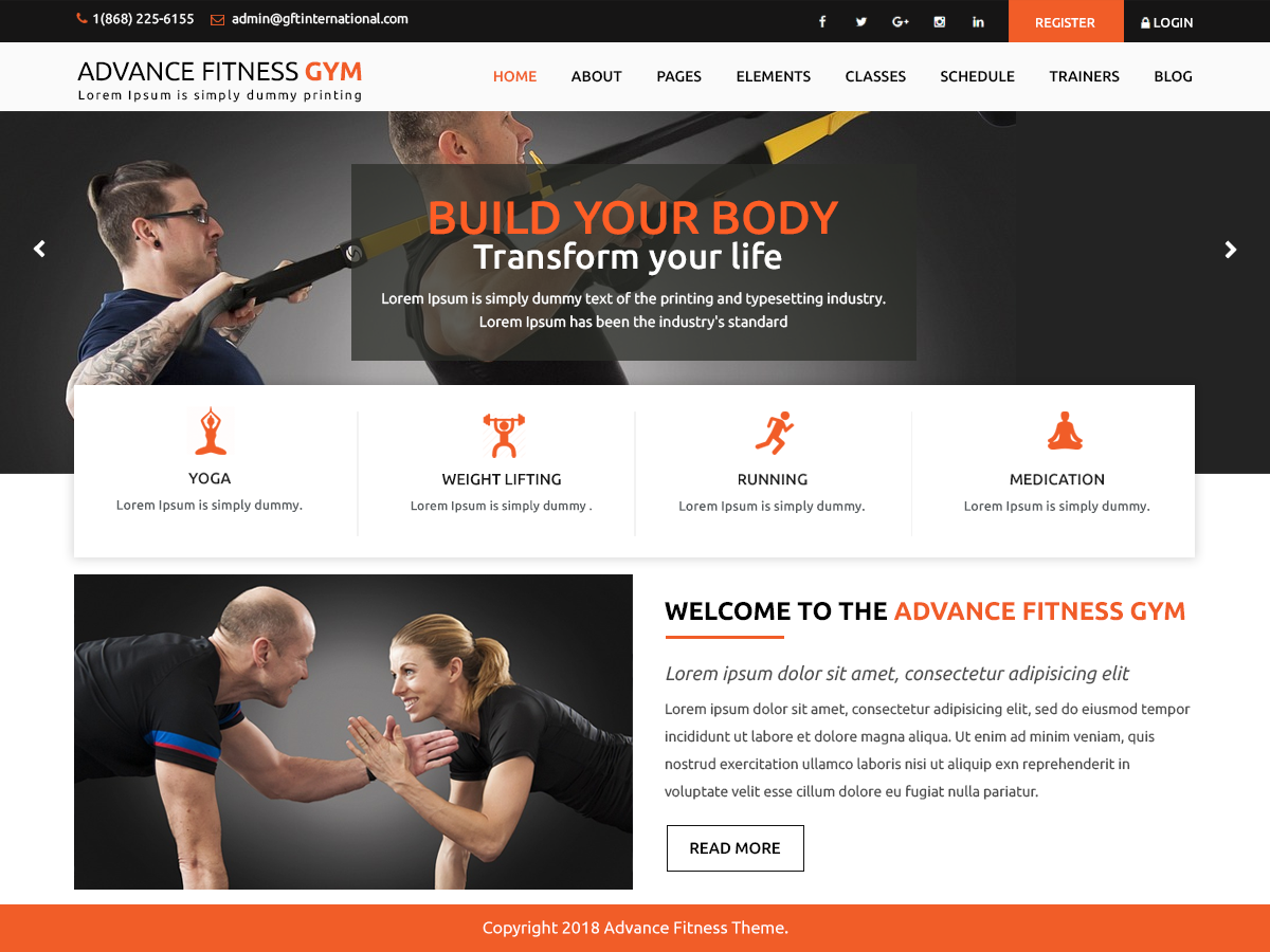Advance Fitness Gym Download Free Wordpress Theme 1