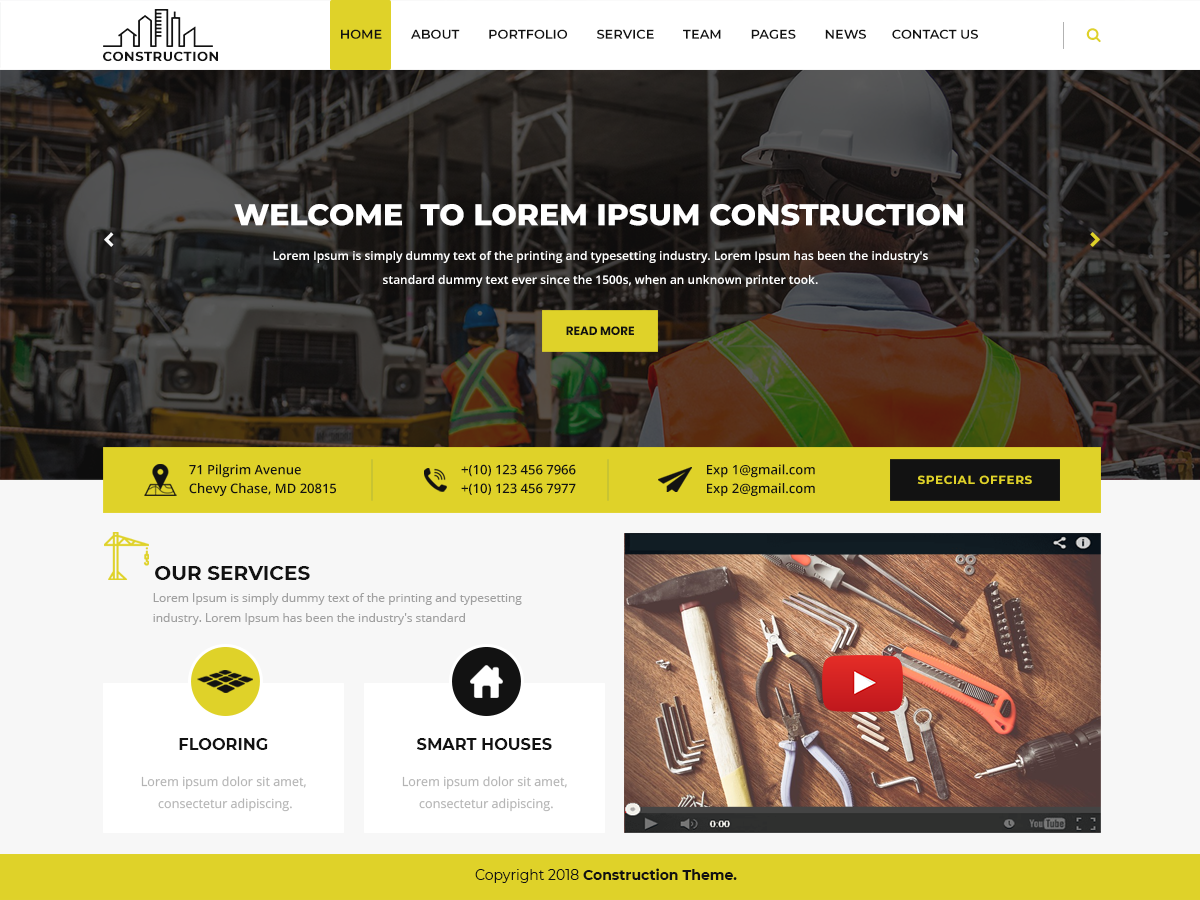 Modern Construction Download Free Wordpress Theme 1