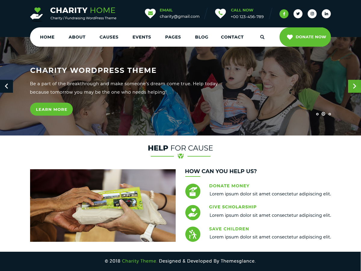 Charity Fundraiser Download Free WordPress Theme