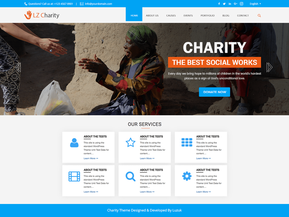 LZ Charity Welfare Download Free Wordpress Theme 5