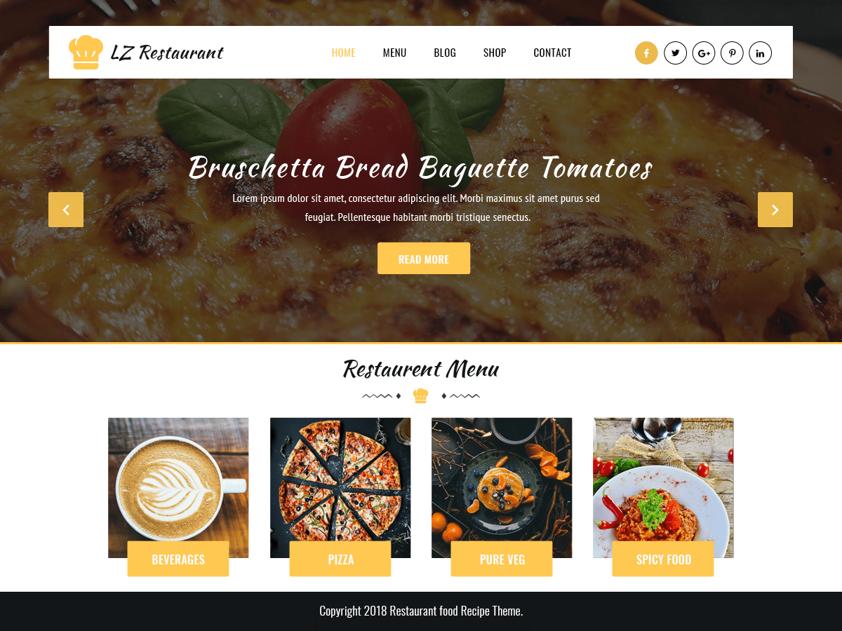 LZ Food Recipee Download Free Wordpress Theme 1