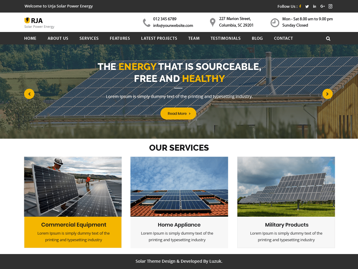 Urja Solar Energy Download Free Wordpress Theme 4