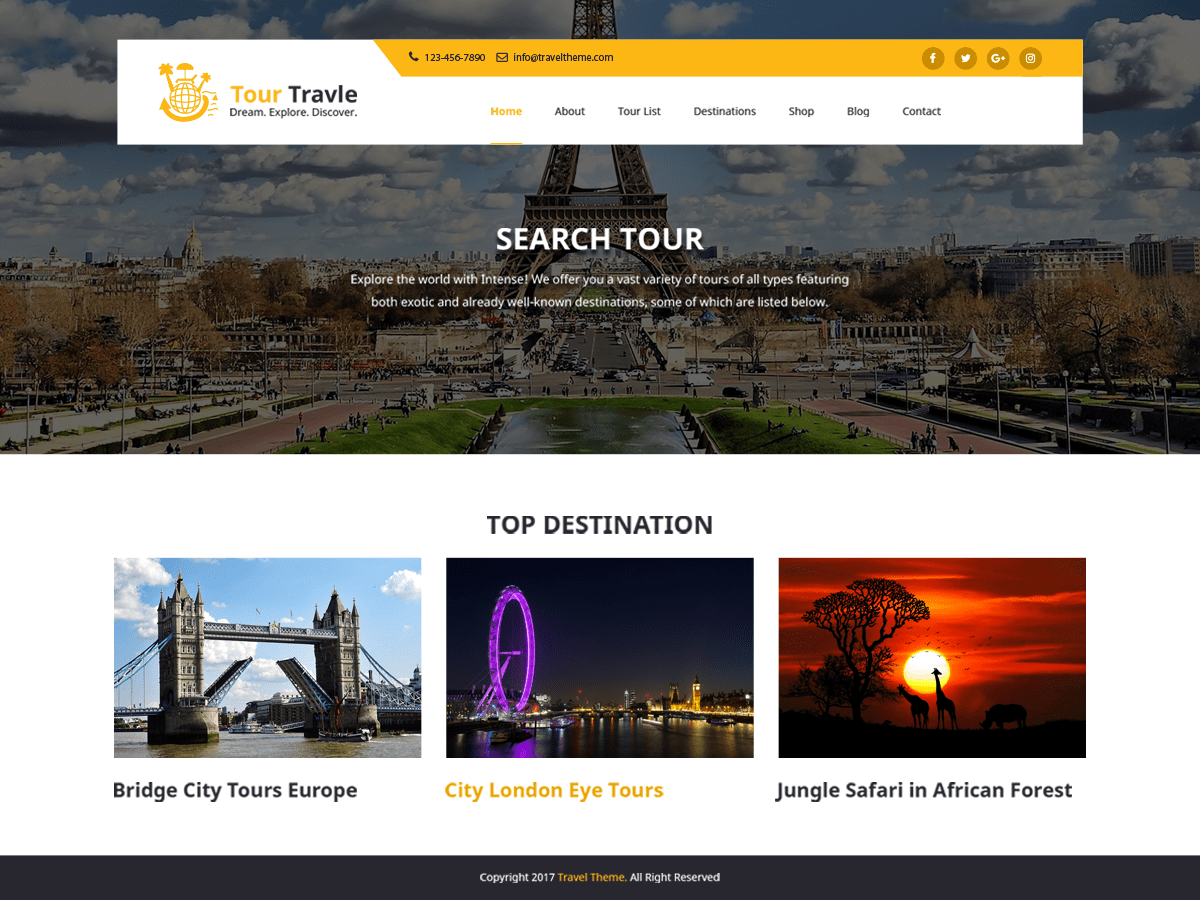 Tours and Travels Download Free Wordpress Theme 2