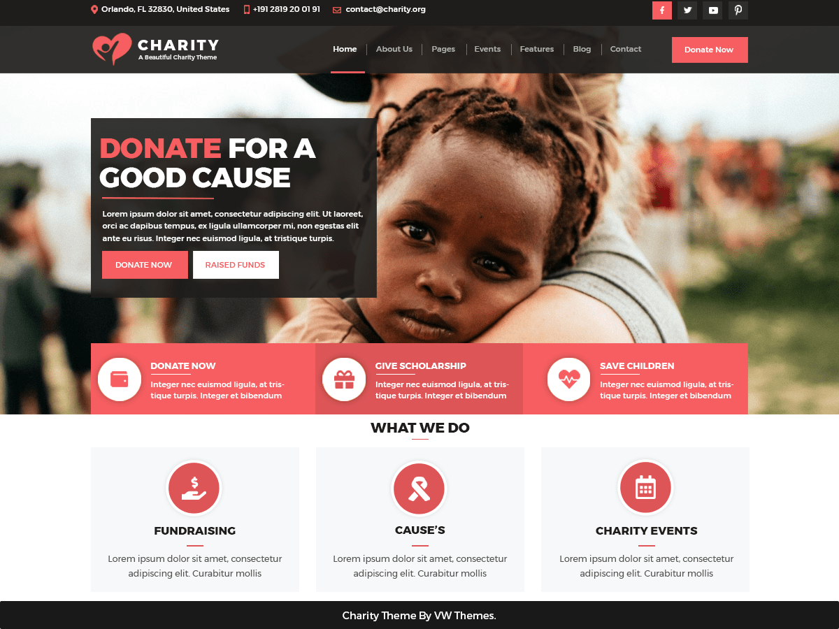 VW Charity NGO Download Free Wordpress Theme 1