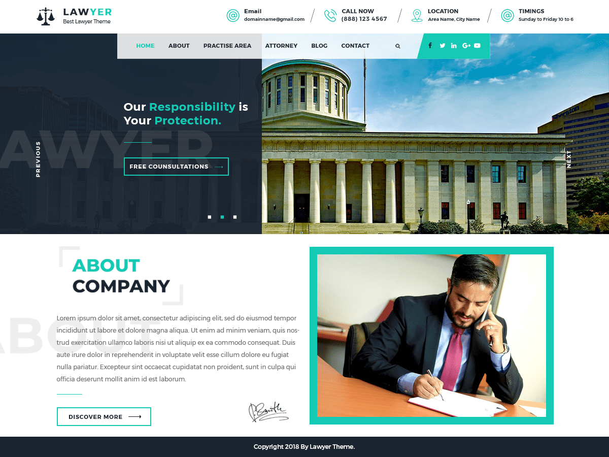 Lawyer Lite Download Free Wordpress Theme 5