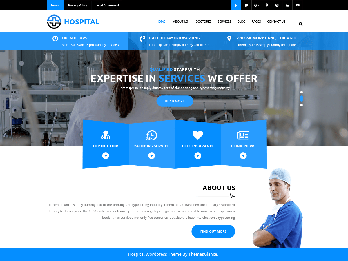 Medical Hospital Download Free Wordpress Theme 4