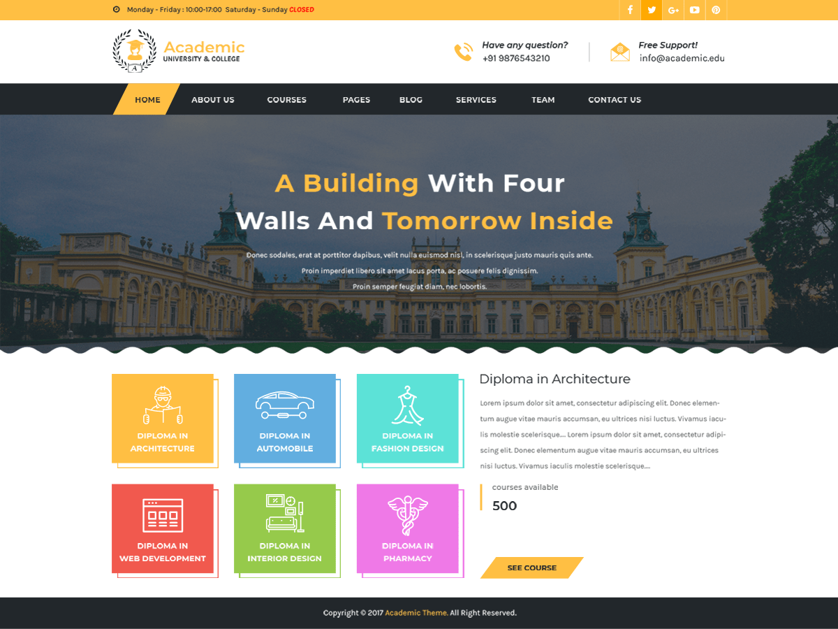 Academic Education Download Free Wordpress Theme 5