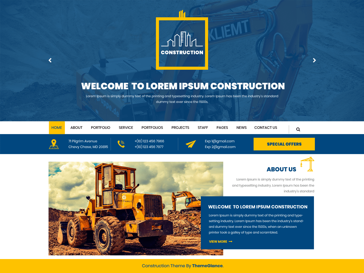 Mega Construction Download Free Wordpress Theme 1