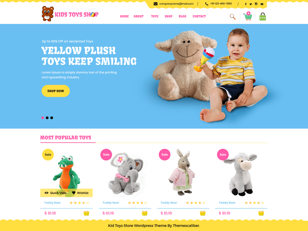 Kid Toys Store Download Free Wordpress Theme 1