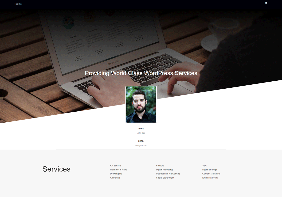 Portfolioo Download Free Wordpress Theme 1
