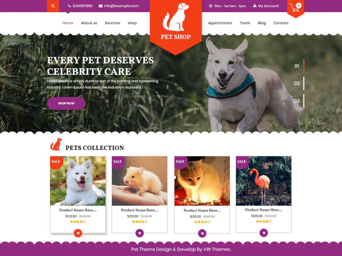 VW Pet Shop Download Free Wordpress Theme 2
