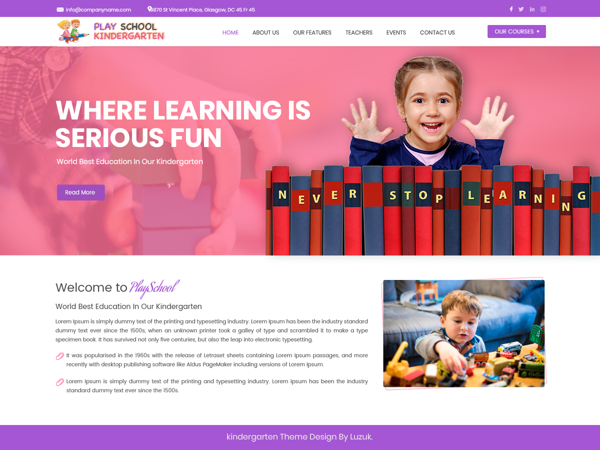 Play School Kindergarten Download Free Wordpress Theme 5