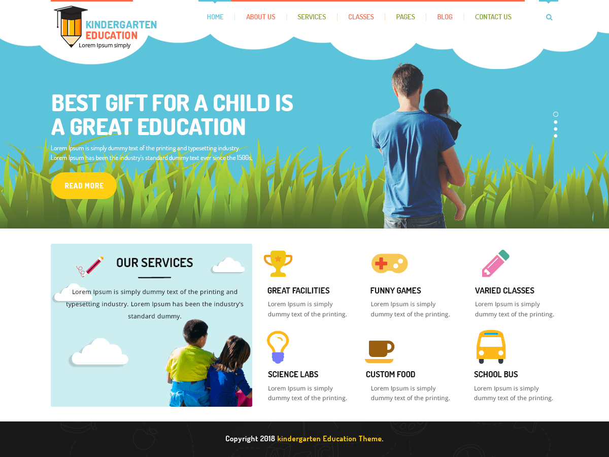Kindergarten Education Download Free Wordpress Theme 4