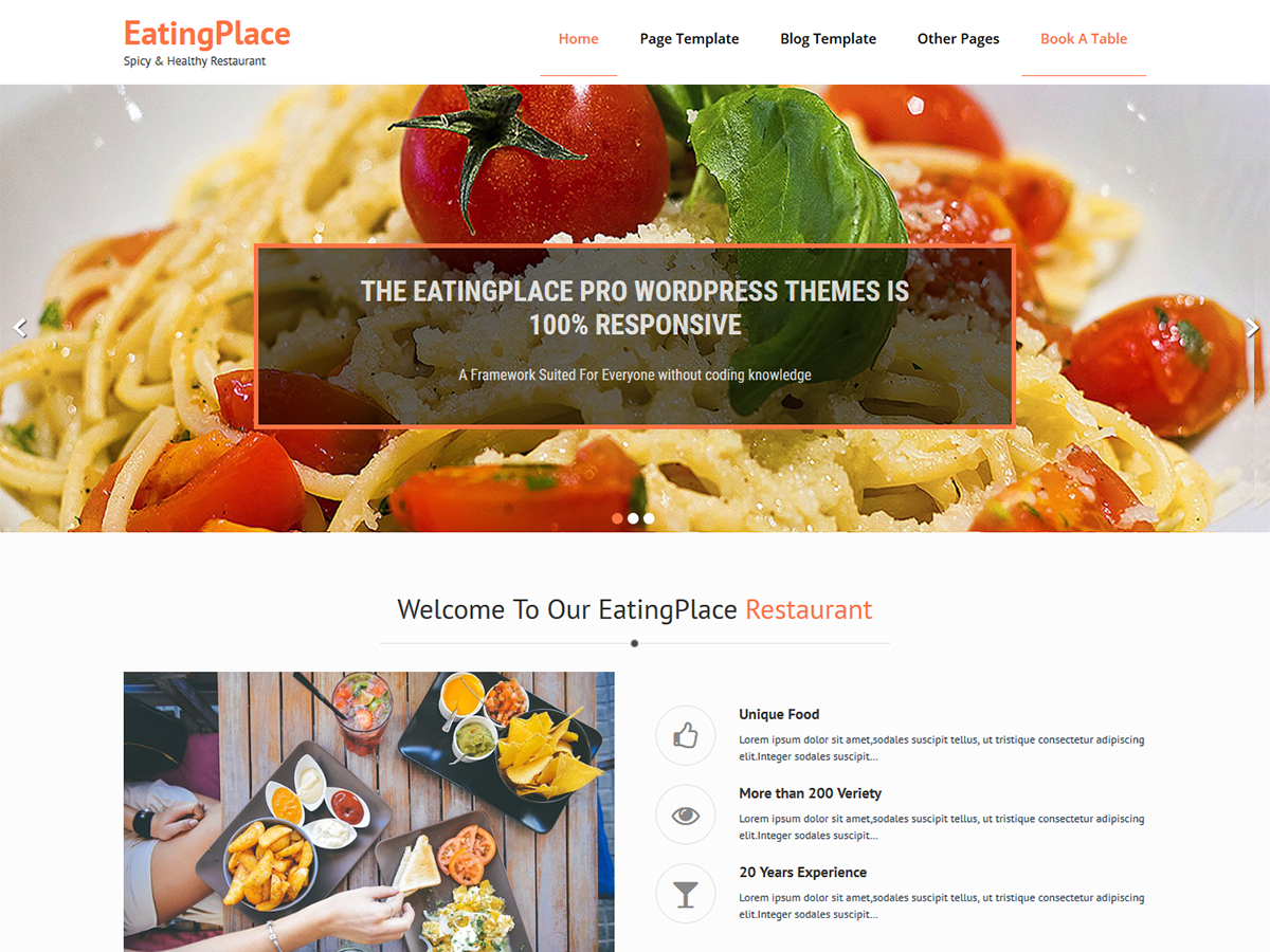 EatingPlace Download Free Wordpress Theme 5