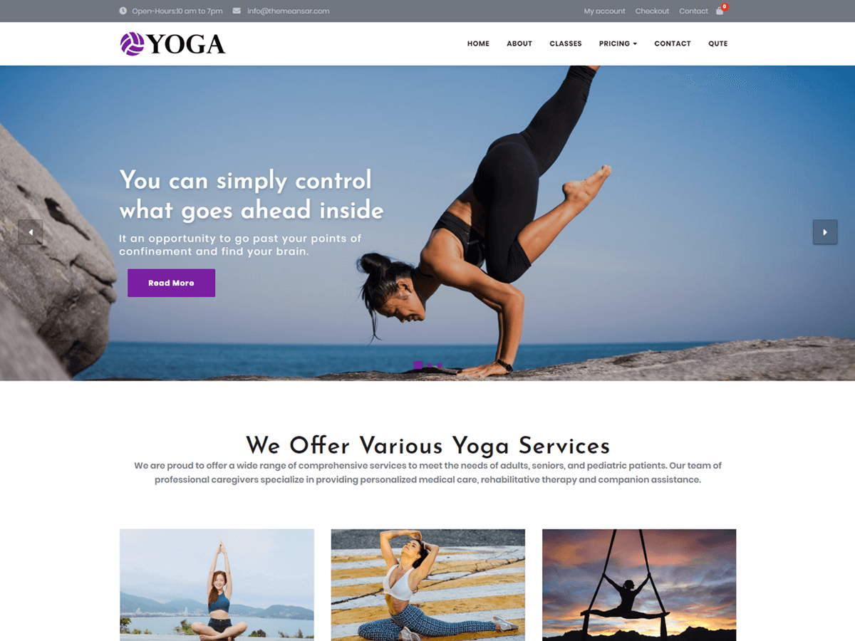 Yoga Download Free Wordpress Theme 2