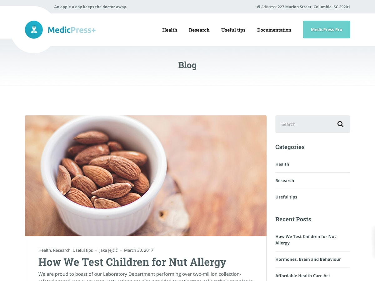 MedicPress Lite Download Free Wordpress Theme 1