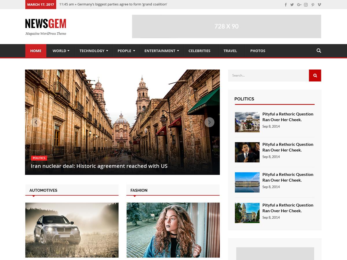 Newsgem Download Free Wordpress Theme 1